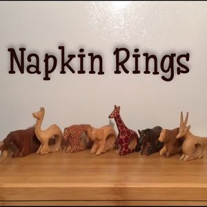 Other - 8 Napkin Rings Wooden Hand Carved African Animals